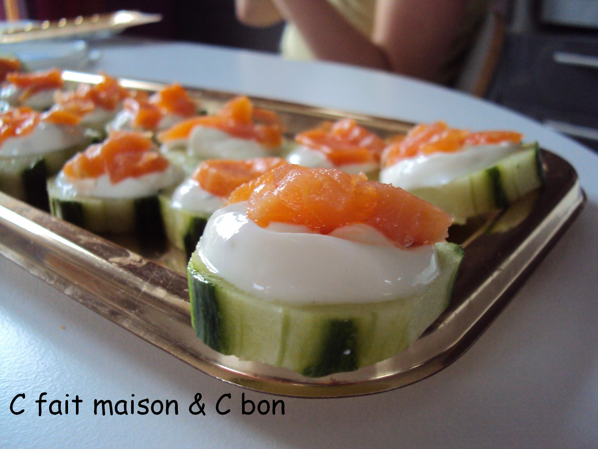 Canap s concombres saumon fum c fait maison c bon for Canape saumon